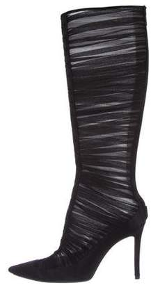 Christian Louboutin Chiffon Knee-High Boots