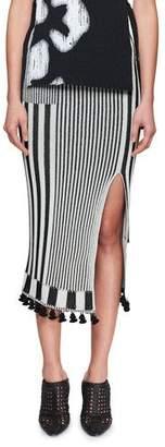 Altuzarra Spire High-Waist Graphic Stripe-Knit Midi Skirt
