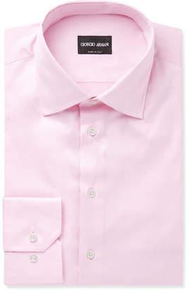 Giorgio Armani Light-pink Cotton-twill Shirt - Pink