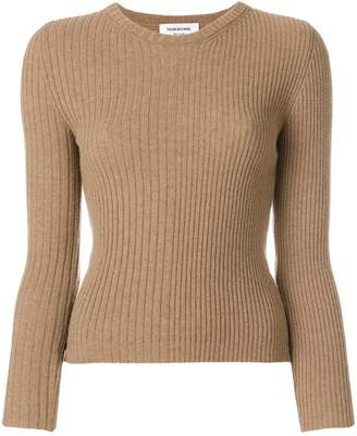 Thom Browne Striped Rib Stitch Camel Hair Pullover