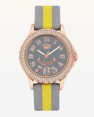 Juicy Couture Grey & Yellow Band Crystal Bezel Watch