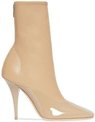 Burberry Lambskin and Patent Leather Ankle Boots