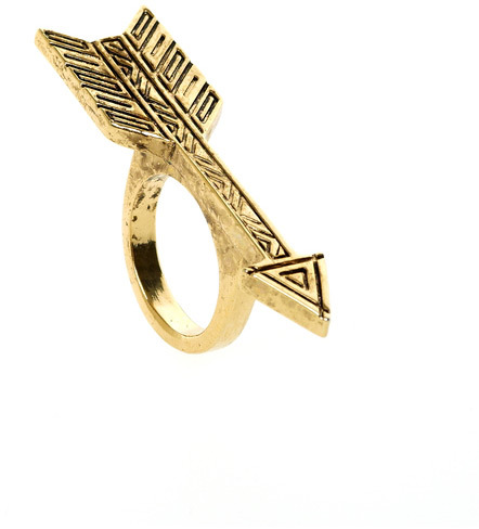 House Of Harlow Antiqued Arrow Ring in Gold
