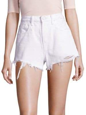 Alexander Wang T by Denim x Bite High-Rise Frayed Hem Denim Shorts