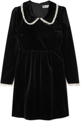 Paul & Joe Lace-trimmed Velvet Mini Dress - Black