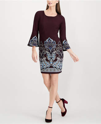 INC International Concepts I.n.c. Petite Placed-Print Bell-Sleeve Dress, Created for Macy's