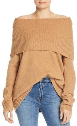 French Connection Flossy Off-the-Shoulder Banded Overlay Sweater