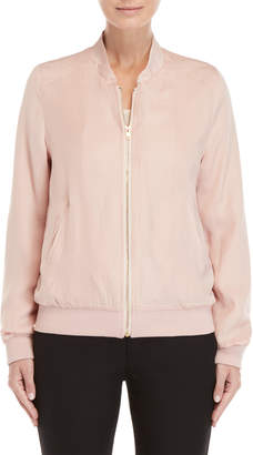 Apricot Pink Hammered Bomber Jacket