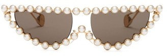 Gucci Pearl Embellished Cat Eye Sunglasses - Womens - Grey Gold