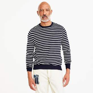 J.Crew Cotton-cashmere piqué crewneck sweater in indigo stripe