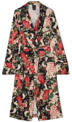 Anna Sui Rose Garland Floral-print Crepe Robe