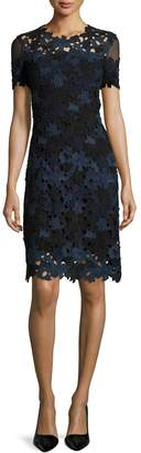 Elie Tahari Ophelia Short-Sleeve Lace Sheath Dress