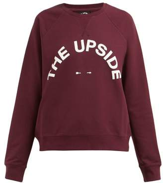 The Upside Sidi Logo Print Cotton Blend Sweatshirt - Womens - Burgundy