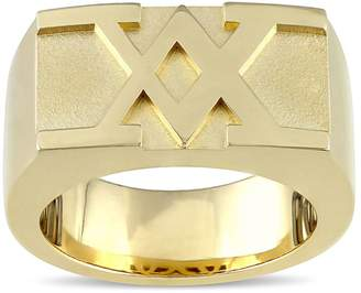 Concerto 18K Yellow Goldplated Sterling Silver Raised Logo Ring