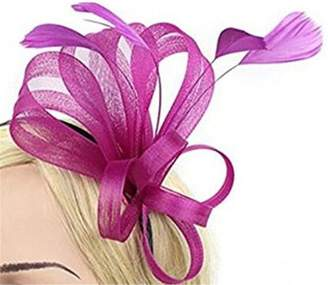 Yiweir Women Headpiece Fascinators Feather Veil Hat for Party Cocktail Wedding