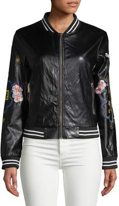 Saks Fifth Avenue RED Women's Embroidered Faux-Leather Bomber Jacket