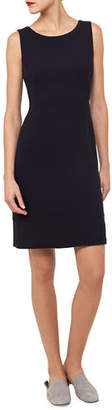Akris Round-Neck Sleeveless Wool Crepe Sheath Dress