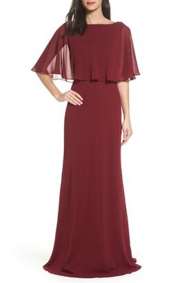 La Femme Popover Chiffon Gown