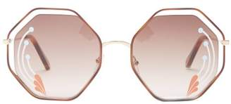 Chloé - Poppy Hexagon Metal Sunglasses - Womens - Brown Multi