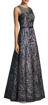Top Leaf Embroidered Gown