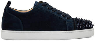 Christian Louboutin Navy Suede Louis Junior Spikes Sneakers
