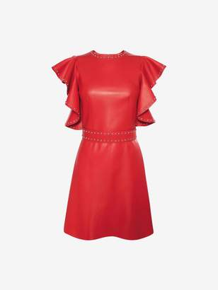 Alexander McQueen Leather Ruffle Mini Dress