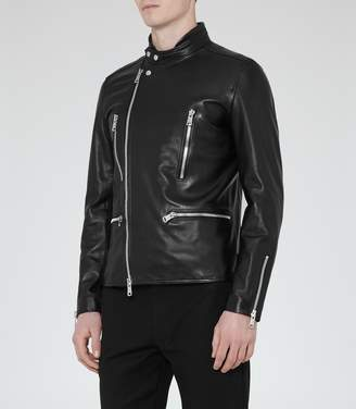 Reiss Rod Leather Biker Jacket