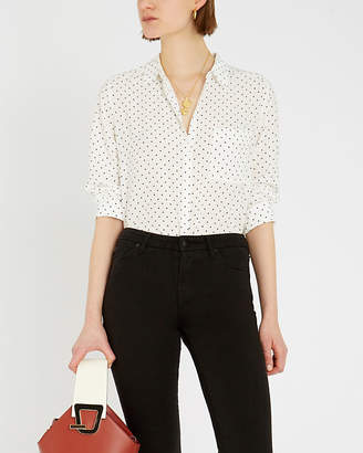 The White Company Dot-patterned crepe shirt