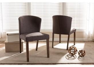 Baxton Studio Set of 2 Cassie Mid-Century Modern Walnut Wood Light Brown Fabric Dining Chair