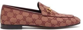 Gucci Jordaan Gg Jacquard Canvas Loafers - Womens - Burgundy