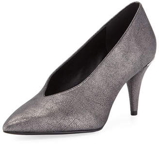 MICHAEL Michael Kors Lizzy Mid-Heel Choked-Up Sueded Metallic Pumps