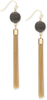 INC International Concepts I.n.c. Gold-Tone Pave Ball & Tassel Drop Earrings, Created for Macy's