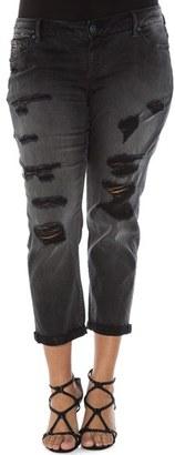 Plus Size Women's Slink Jeans Distressed Roll Cuff Stretch Boyfriend Jeans $98 thestylecure.com