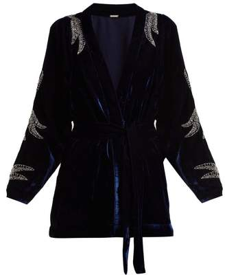 Dodo Bar Or - Corinne Bead Embellished Velvet Kimono Jacket - Womens - Navy