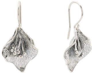 Made In Israel Sterling Silver Leaf Earrings