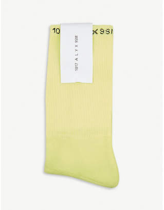 Alyx Mens Cream Logo Cotton-Blend Crew Socks