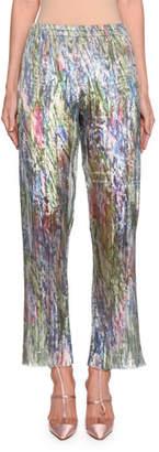 Giorgio Armani Printed Plisse Organza Crop Pants