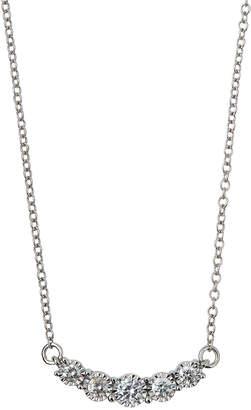 Neiman Marcus Diamonds 14k White Gold Diamond Curved Bar Necklace, 0.52tcw