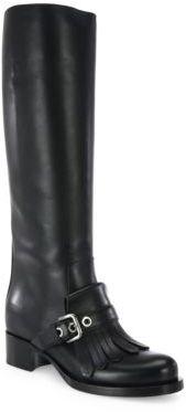 pradaPrada Kiltie Tall Leather Boots
