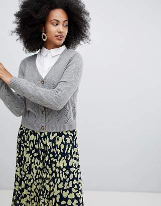 Monki pointelle stitch cardigan in gray