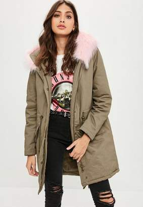 Missguided Khaki Faux Fur Trim Parka Coat