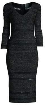 Herve Leger V-Neck Lurex & Knit Midi Dress