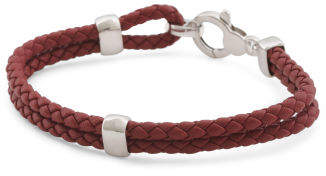 Men's Made In Italy Sterling Silver Braided Leather Bracelet