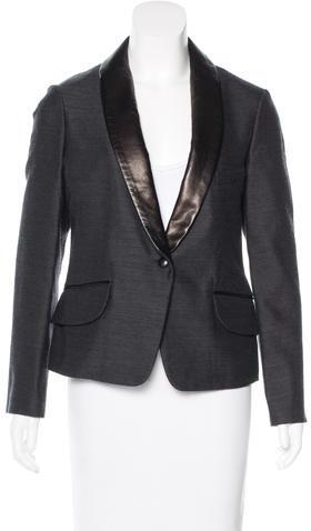 Saint LaurentYves Saint Laurent Wool-Blend Leather-Trimmed Blazer