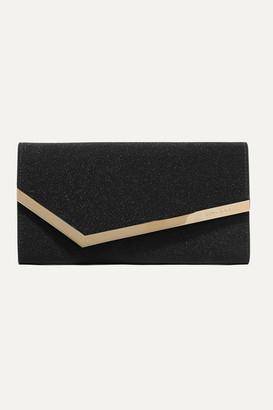 Jimmy Choo Emmie Glittered Leather Clutch - Black
