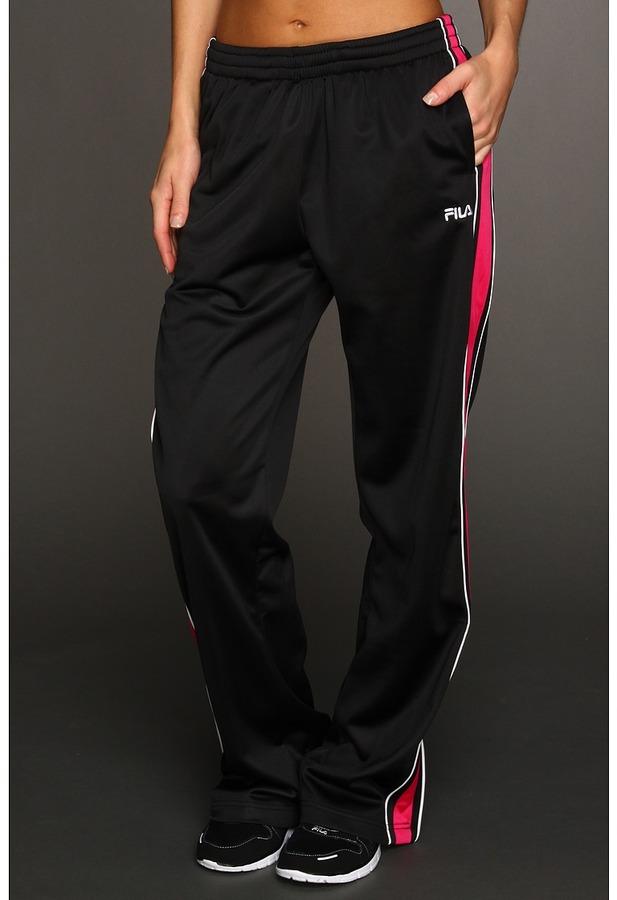 Fila Chevron Poly Matte Tricot Pant (Black/Cerise/White) - Apparel