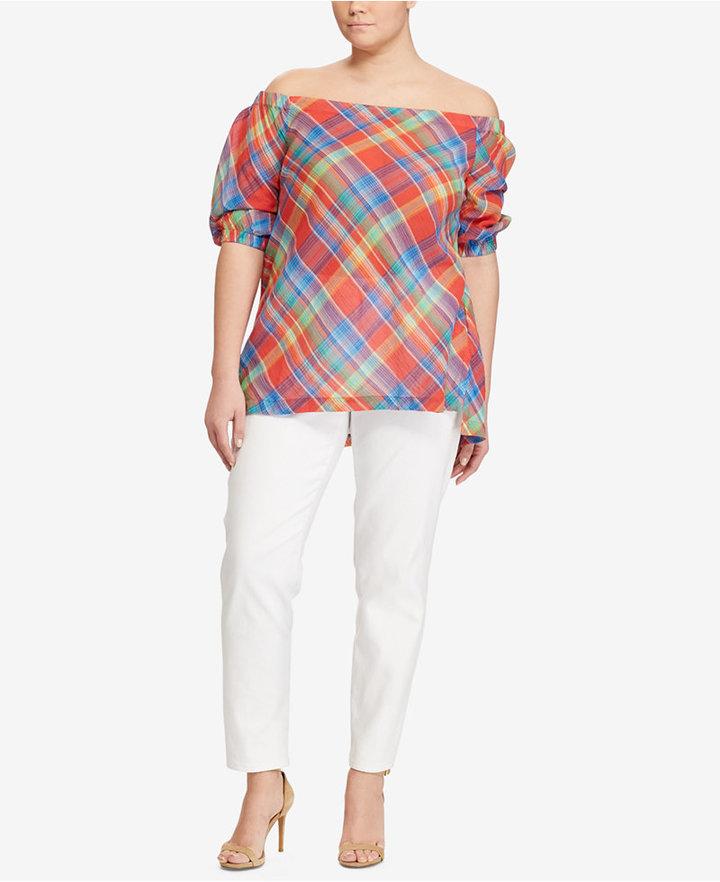 Lauren Ralph LaurenLauren Ralph Lauren Plus Size Off-The-Shoulder Cotton Top