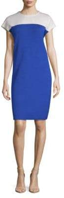 St. John Colorblock Wool-Blend Sheath Dress