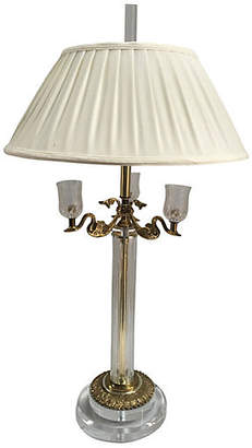 One Kings Lane Vintage Bauer Lucite & Brass Swan Table Lamp - Chic Transitions