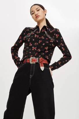 Topshop Floral Fringe Shirt